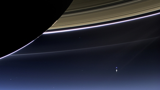 Pictured: Earth as seen from Saturn: don't expect the galaxy to really care.